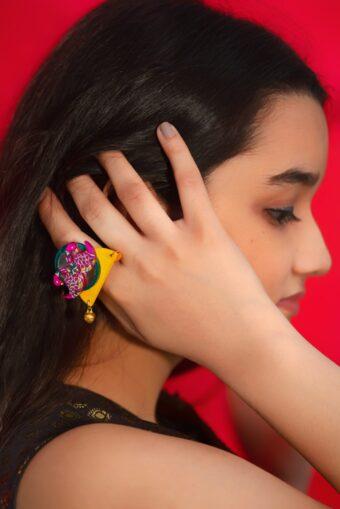 Buy Madhubani Art Jewelry at Fudakti. Handmade Ring inspired from Madhubani designs and is handpainted by the artisans of Fudakti.